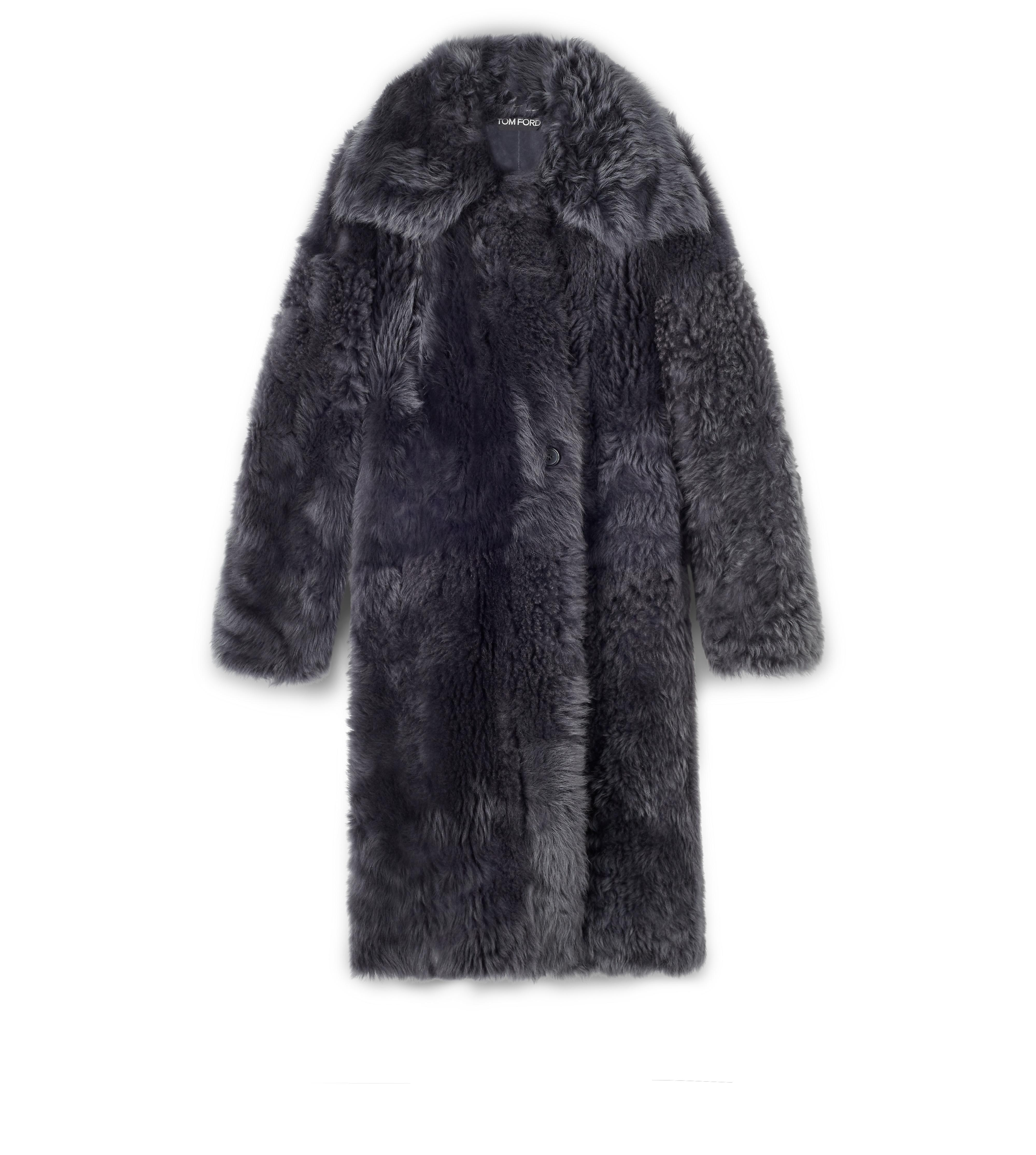 SHAGGY SHEARLING OVERSIZED COAT A thumbnail