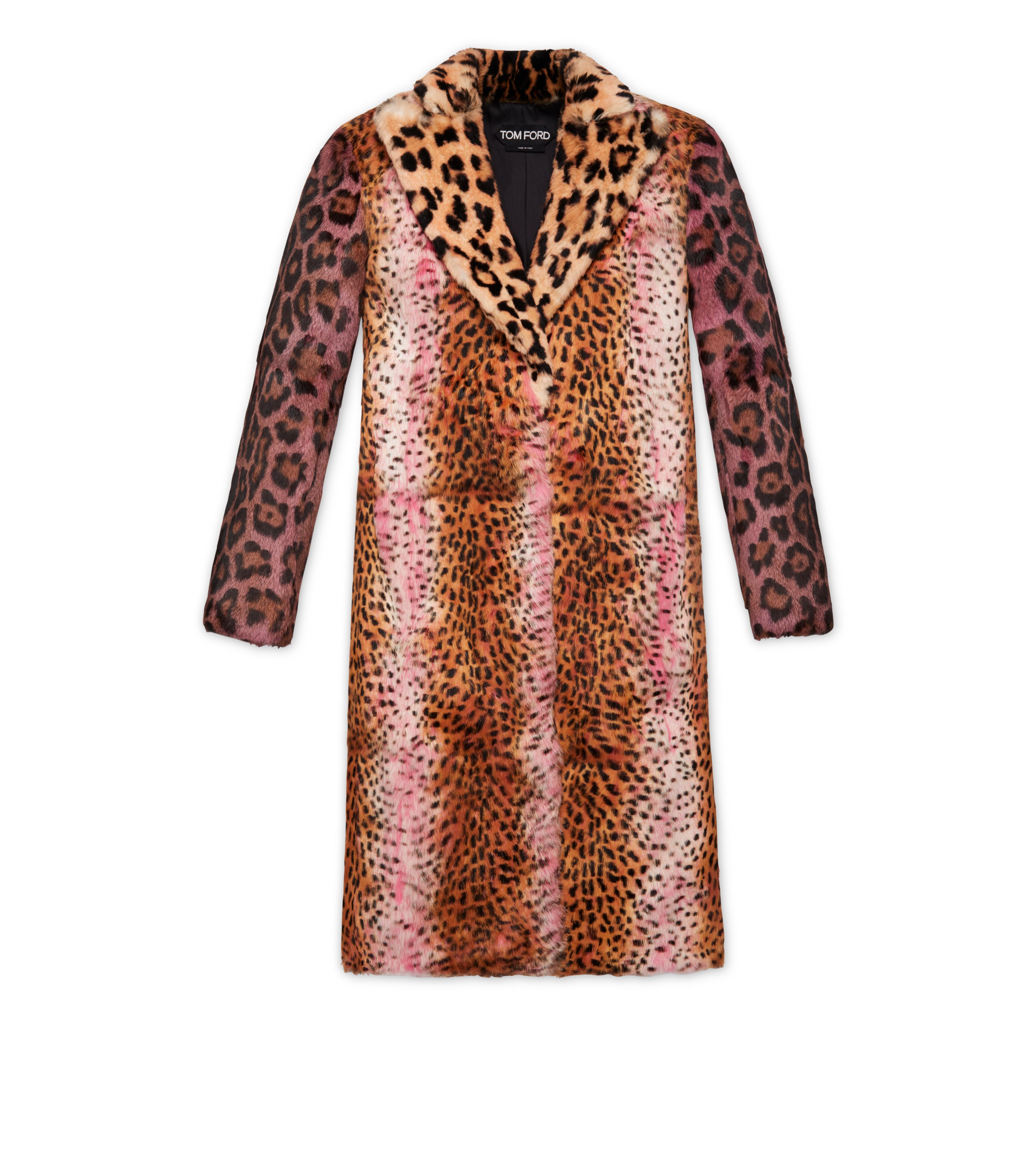 Strong-Shoulder Jaguar & Cheetah Patch Rabbit-Fur Coat Tom Ford