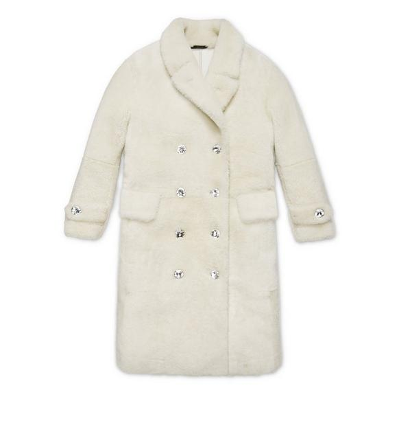 DOUBLE-BREASTED LAMB-SHEARLING TEDDY COAT W/ CRYSTAL BUTTONS