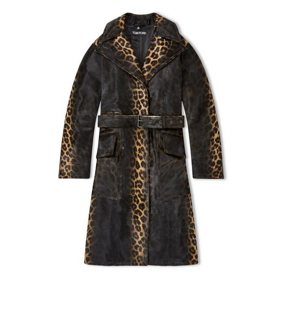LEOPARD PRINTED OVERSIZED TRENCH COAT A fullsize
