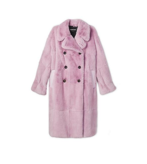 FAUX LAPIN DOUBLE BREASTED COAT A fullsize