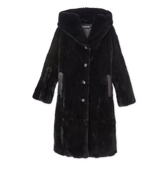 FAUX LAPIN HOODED COAT A fullsize