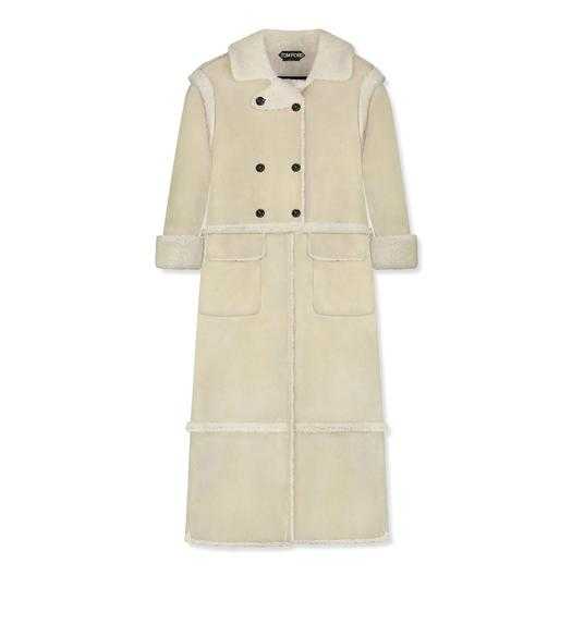 RAW CUT SHEARLING DOUBLE BREASTED LONG COAT
