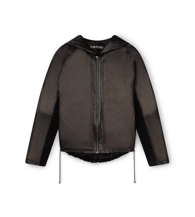 LEATHER AND SUEDE ZIP HOODIE A fullsize