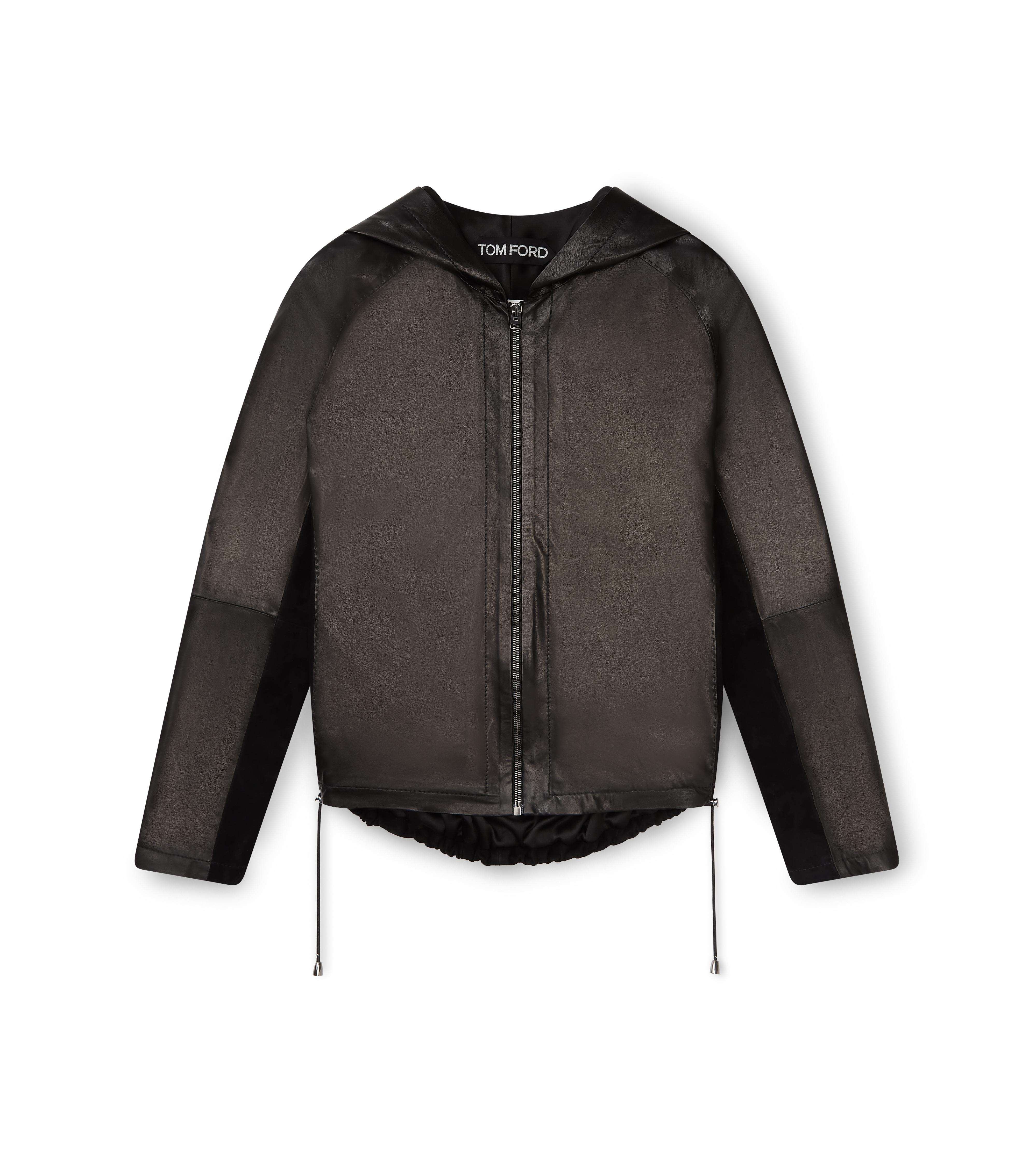 LEATHER AND SUEDE ZIP HOODIE A thumbnail