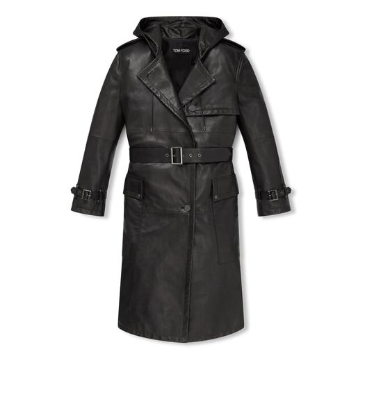 HOODED LEATHER TRENCH COAT