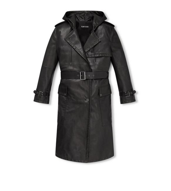 HOODED LEATHER TRENCH COAT A fullsize