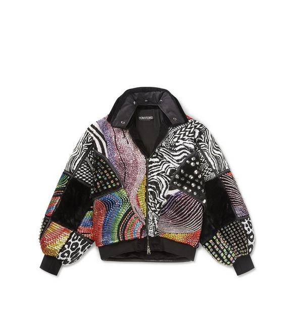 PATCHWORK EMBROIDERED PUFFER COAT A fullsize