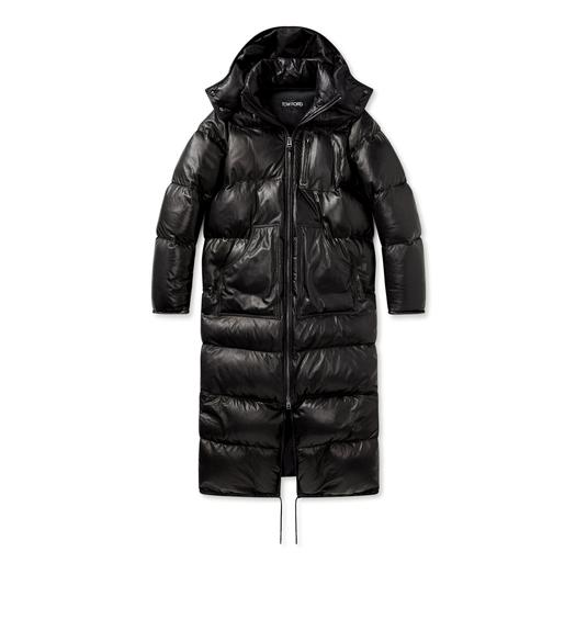 SOFT LEATHER QUILTED LONG PUFFER COAT