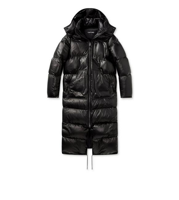 SOFT LEATHER QUILTED LONG PUFFER COAT A fullsize