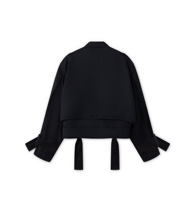 FLUID CANVAS COLLARLESS ZIP-FRONT OVERSIZED JACKET B fullsize