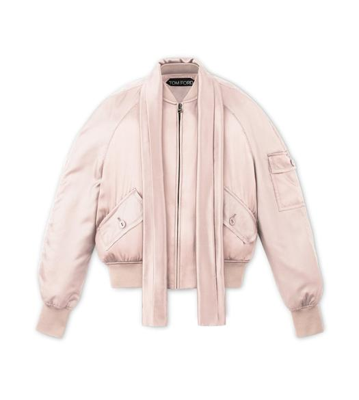 SILK SATIN BOMBER JACKET WITH DETACHABLE SCARF