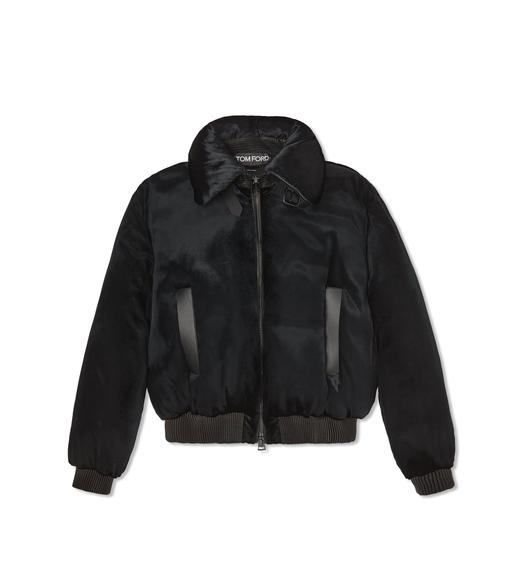 PANNE LIQUID VELVET PUFFER JACKET WITH LEATHER DETAILS