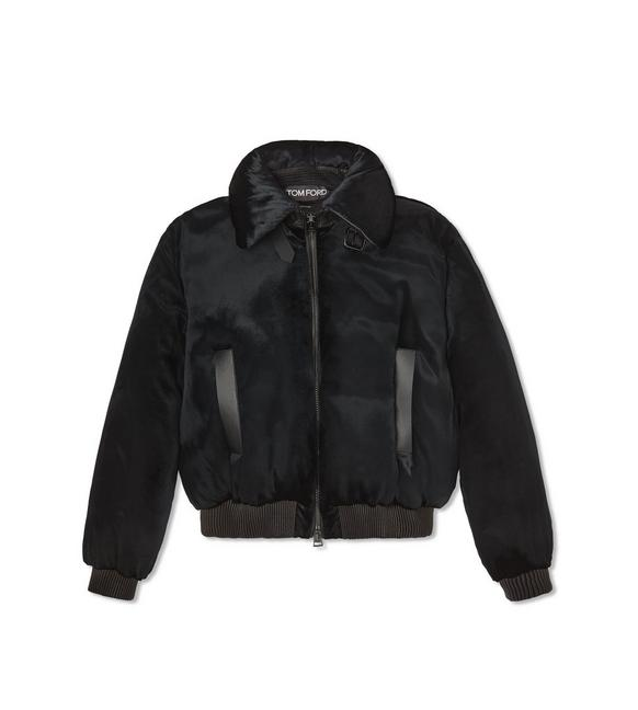 PANNE LIQUID VELVET PUFFER JACKET WITH LEATHER DETAILS A fullsize