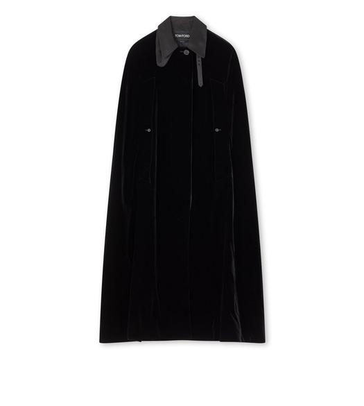 VISCOSE VELVET LONG CAPE WITH DOUBLE SILK DUCHESSE DETAILS