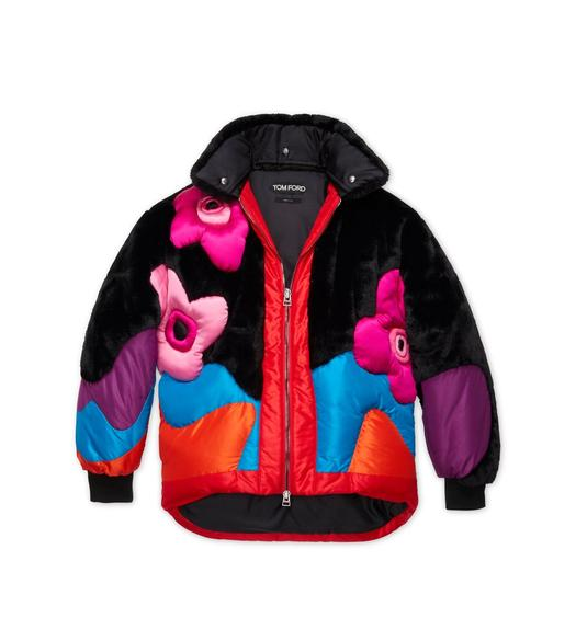 MULTICOLOR FAUX FUR PUFFER COAT