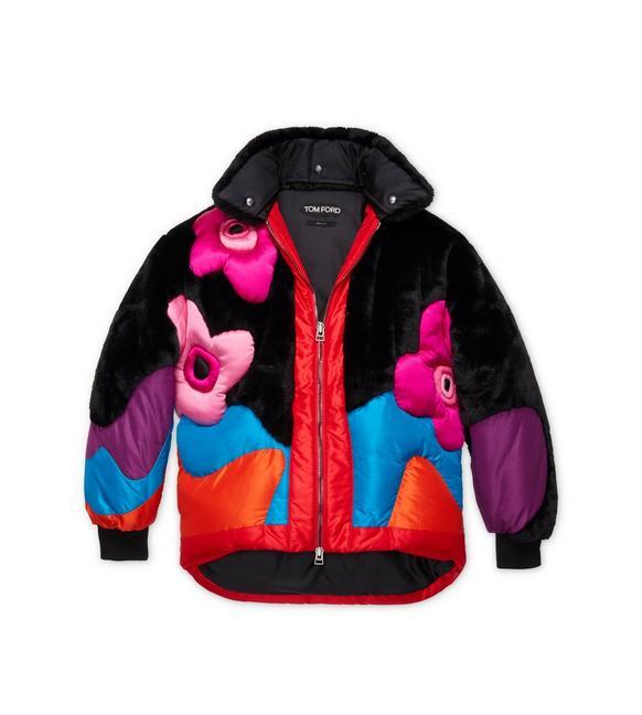 Zip-Front Multicolor Puffer Coat W/ Taffeta Intarsia & Faux-Fur in Black