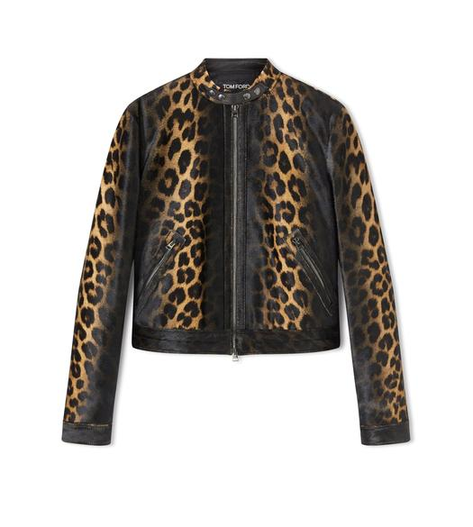 LEOPARD PRINTED CROPPED JACKET