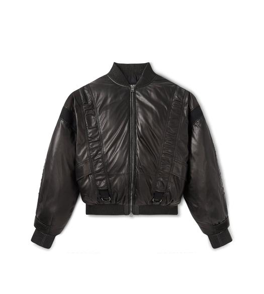 PADDED LEATHER BOMBER JACKET