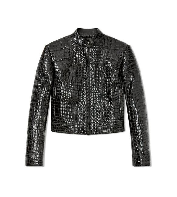EMBOSSED LEATHER BIKER JACKET A fullsize