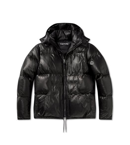 SOFT LEATHER QUILTED SHORT PUFFER COAT