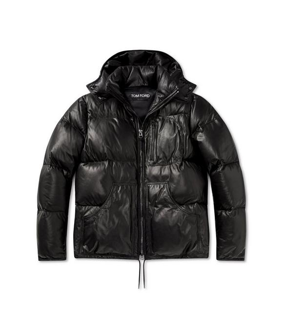 SOFT LEATHER QUILTED SHORT PUFFER COAT A fullsize