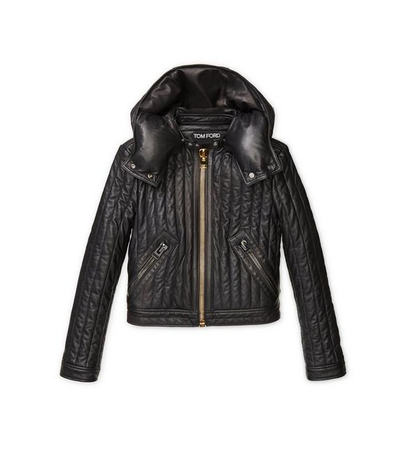 QUILTED LEATHER BIKER JACKET A fullsize
