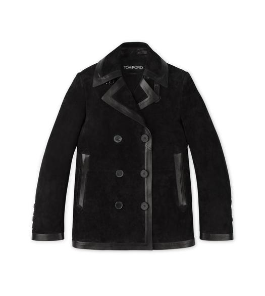 CASHMERE SUEDE PEACOAT WITH LEATHER TRIMS