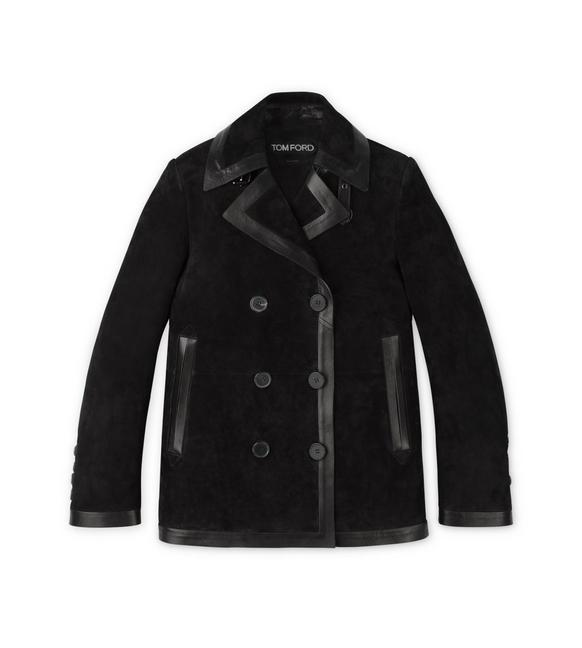 CASHMERE SUEDE PEACOAT WITH LEATHER TRIMS A fullsize