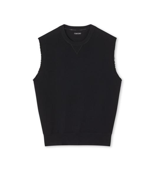COTTON JERSEY SLEEVELESS OVERSIZE SWEATSHIRT
