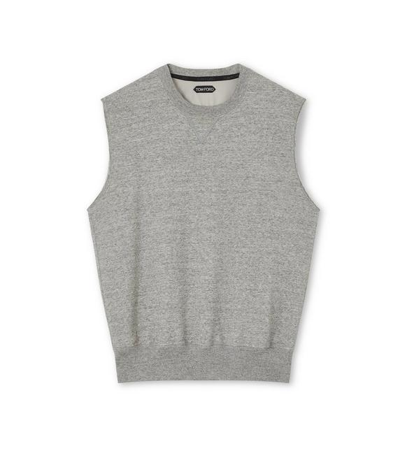COTTON JERSEY SLEEVELESS OVERSIZE SWEATSHIRT A fullsize