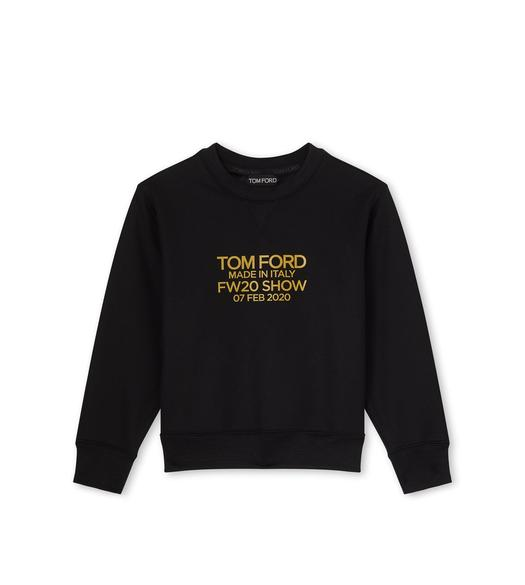 COTTON JERSEY CROP SWEATSHIRT WITH LOGO