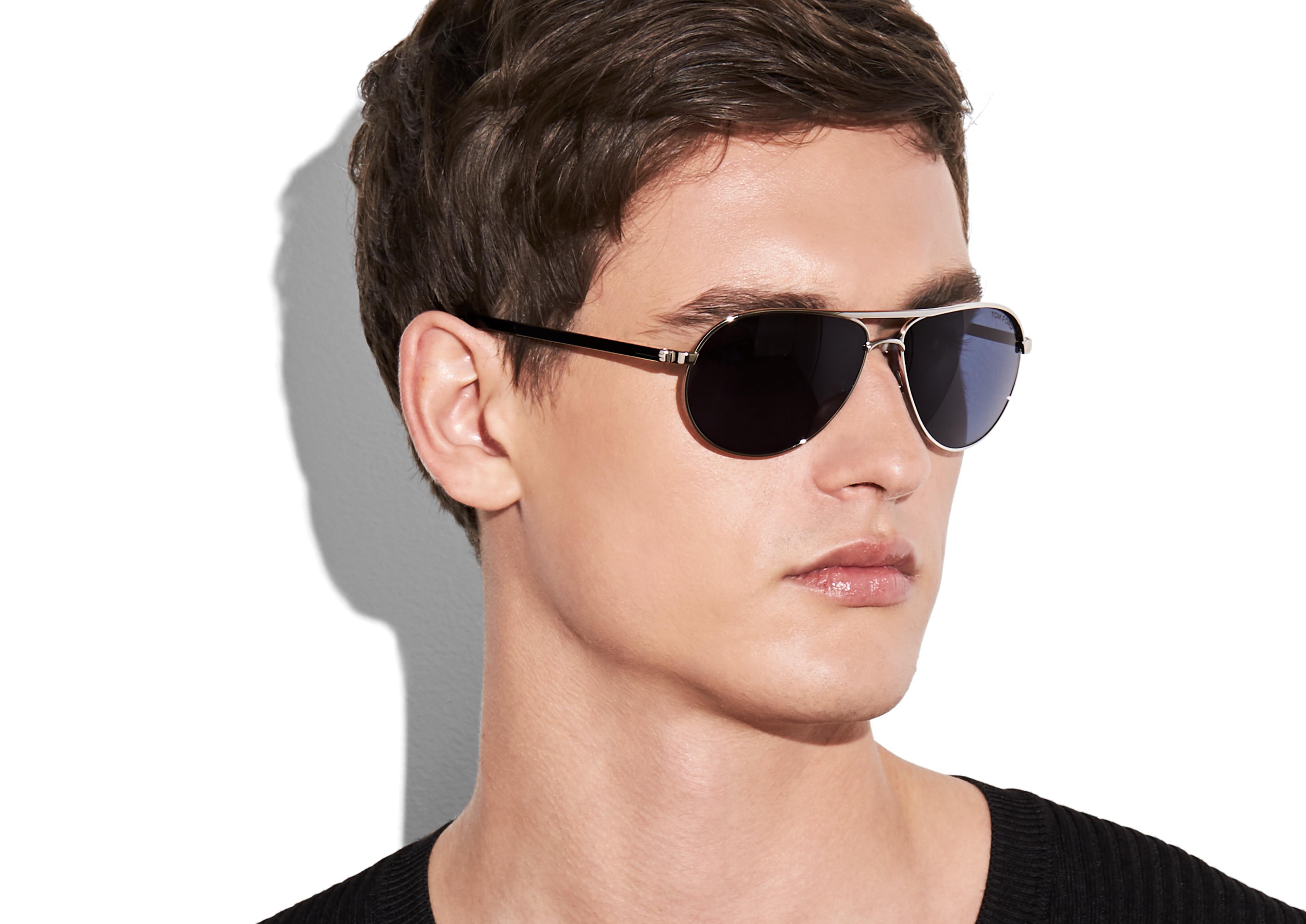 Tom Ford Men/'s Stacy TF452 TF//452 01C Shiny Black Fashion Pilot Sunglasses 57mm