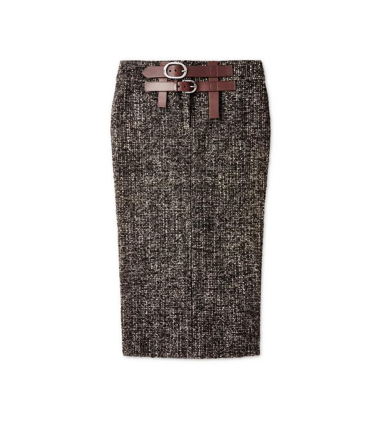 COUTURE TWEED MIDI SKIRT WITH DOUBLE LEATHER BELT A fullsize