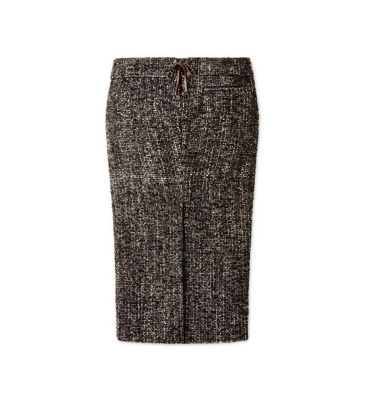 COUTURE TWEED MIDI SKIRT WITH DOUBLE LEATHER BELT B fullsize