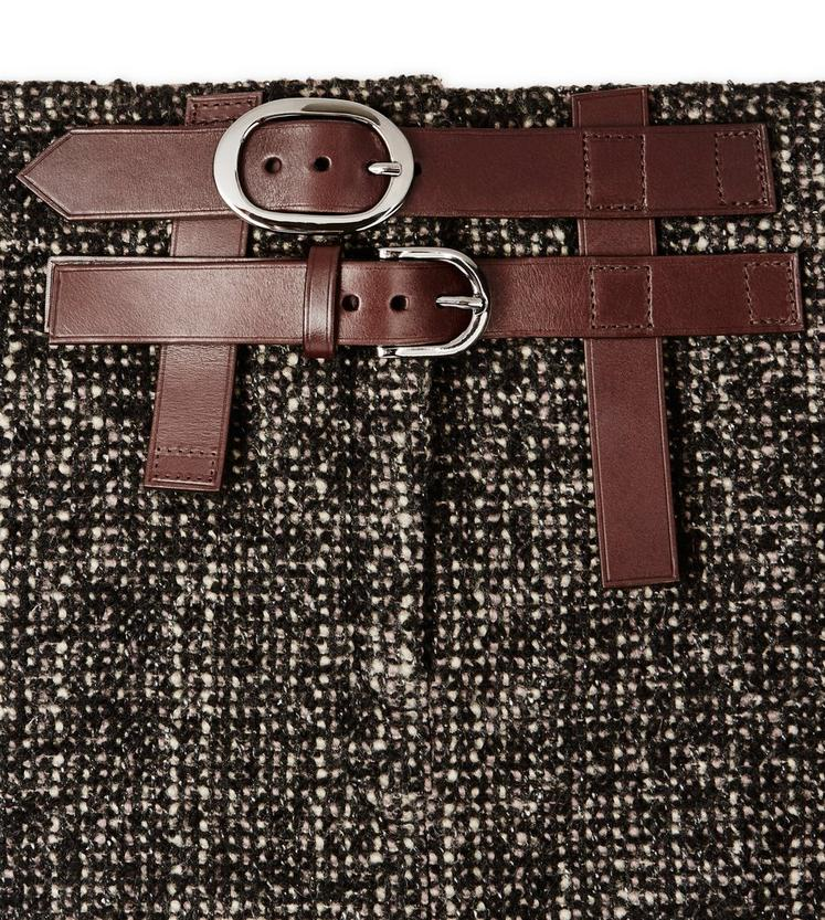 COUTURE TWEED MIDI SKIRT WITH DOUBLE LEATHER BELT C fullsize