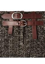 COUTURE TWEED MIDI SKIRT WITH DOUBLE LEATHER BELT C thumbnail