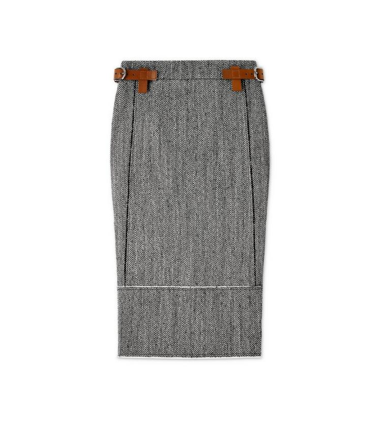 HERRINGBONE TWEED MIDI SKIRT WITH REMOVABLE LEATHER TABS A fullsize
