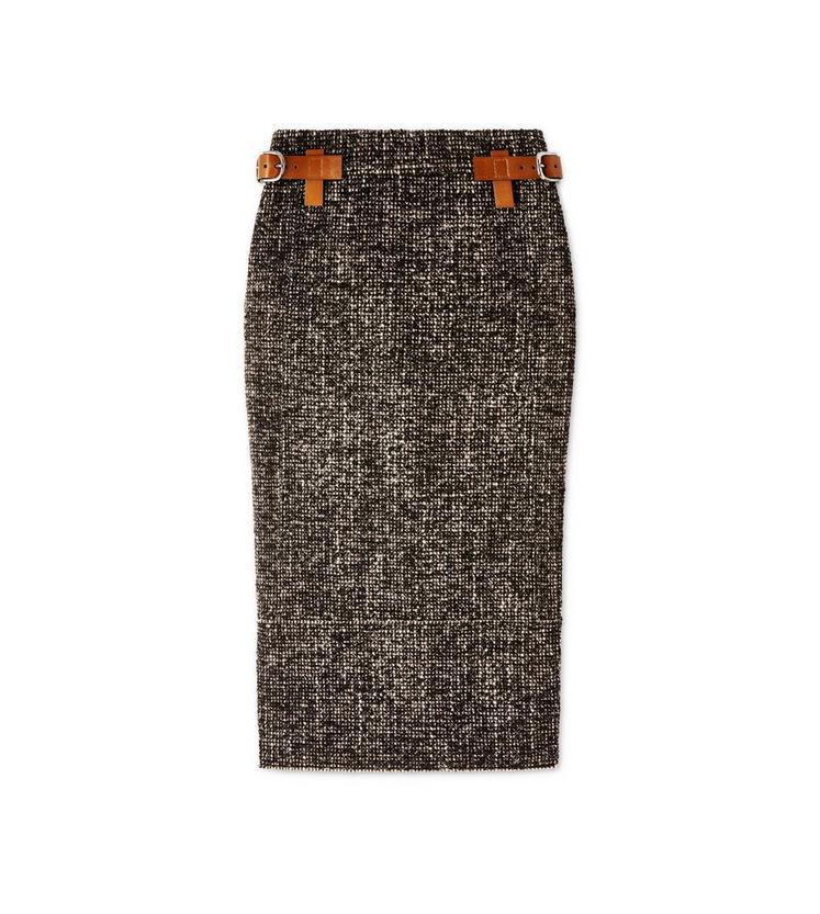 COUTURE TWEED MIDI SKIRT WITH REMOVABLE LEATHER TABS A fullsize