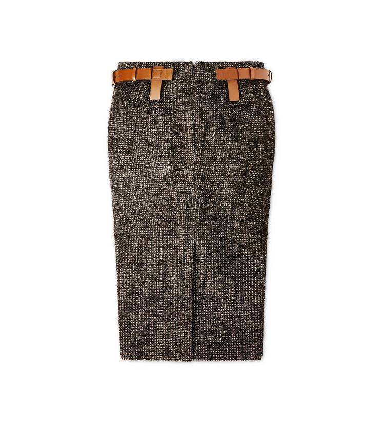 COUTURE TWEED MIDI SKIRT WITH REMOVABLE LEATHER TABS B fullsize