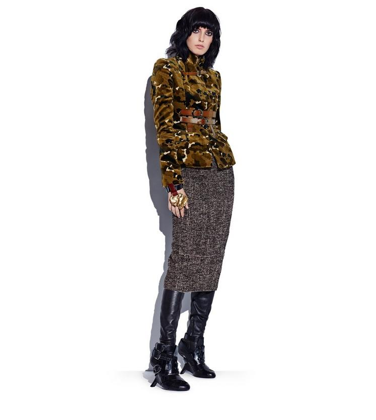 COUTURE TWEED MIDI SKIRT WITH REMOVABLE LEATHER TABS L fullsize