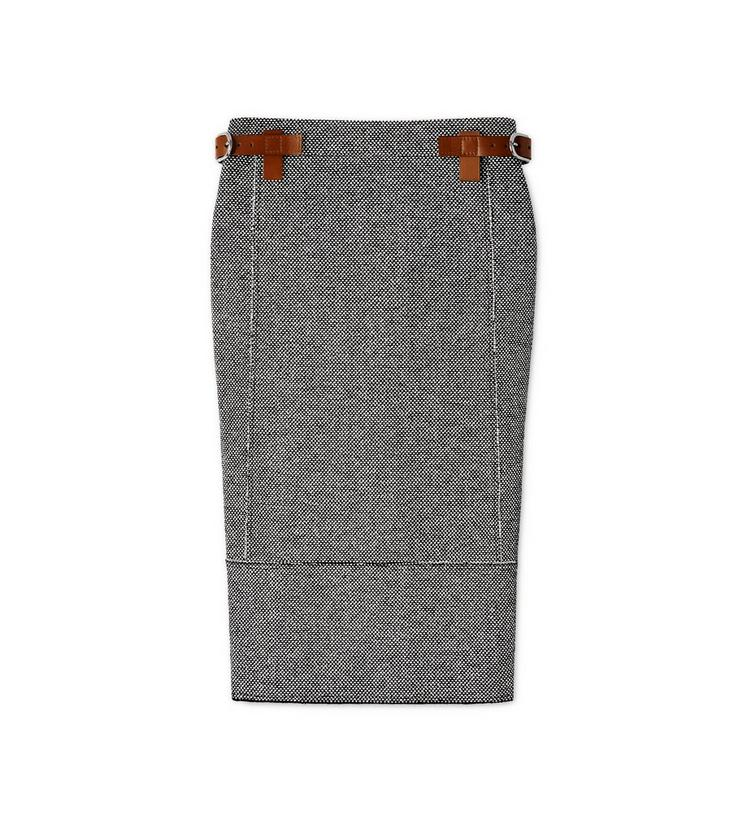 TWEED MIDI SKIRT WITH REMOVABLE LEATHER TABS A fullsize