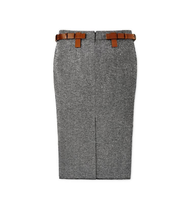 TWEED MIDI SKIRT WITH REMOVABLE LEATHER TABS B fullsize