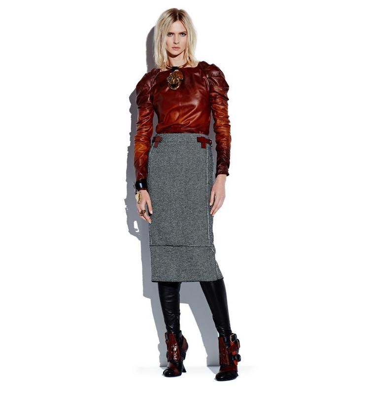 TWEED MIDI SKIRT WITH REMOVABLE LEATHER TABS L fullsize