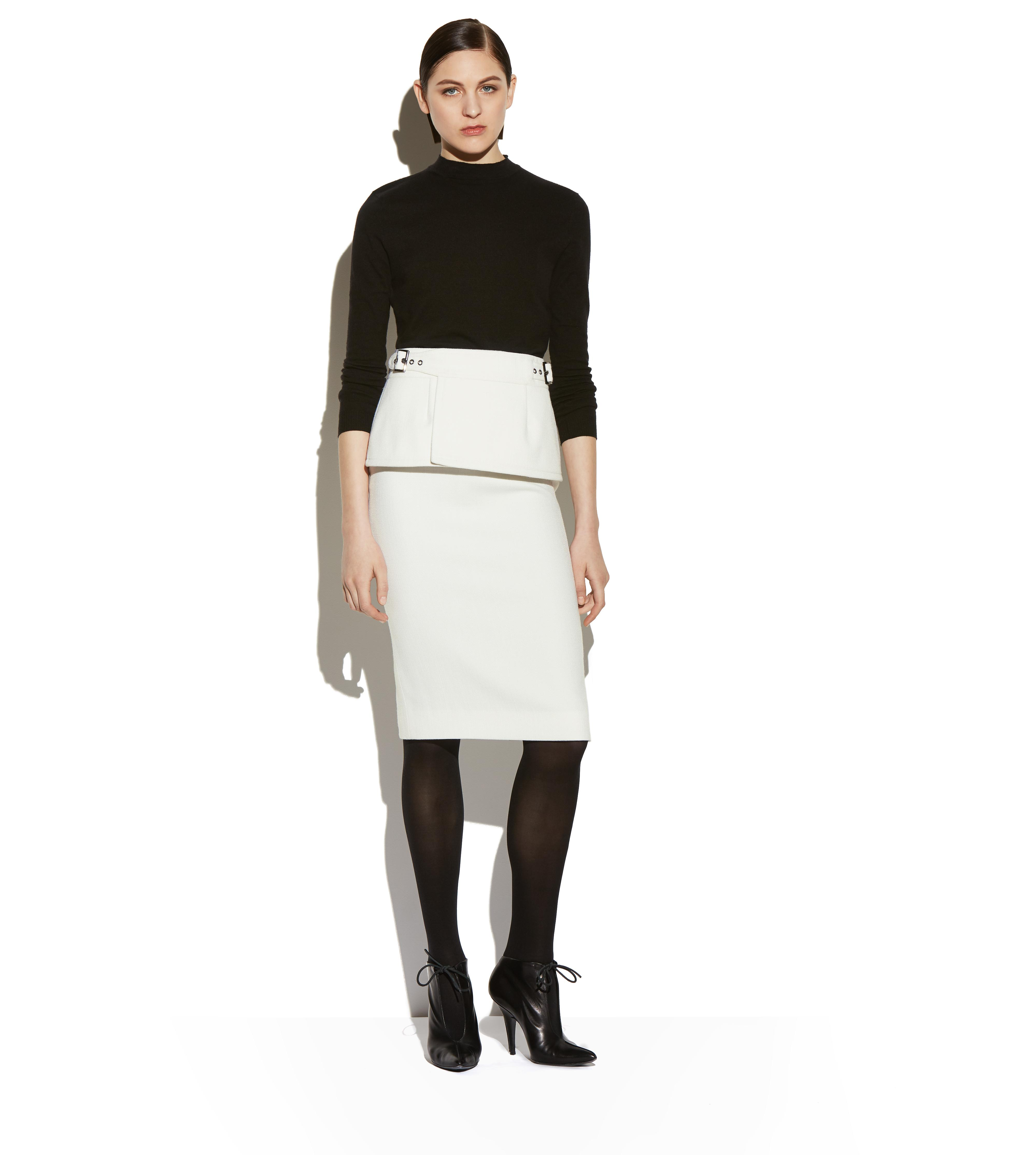 TWEED PENCIL SKIRT WITH PEPLUM BELT C thumbnail