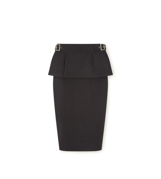 TWEED PENCIL SKIRT WITH PEPLUM BELT