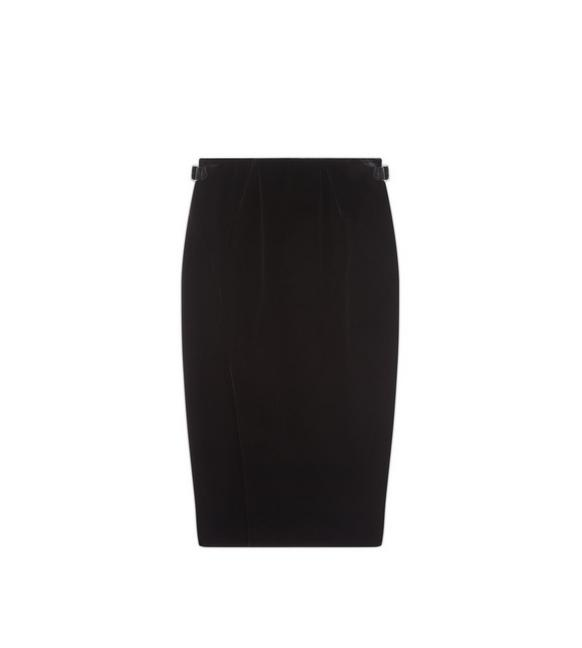 SLIT FRONT VELVET PENCIL SKIRT A fullsize
