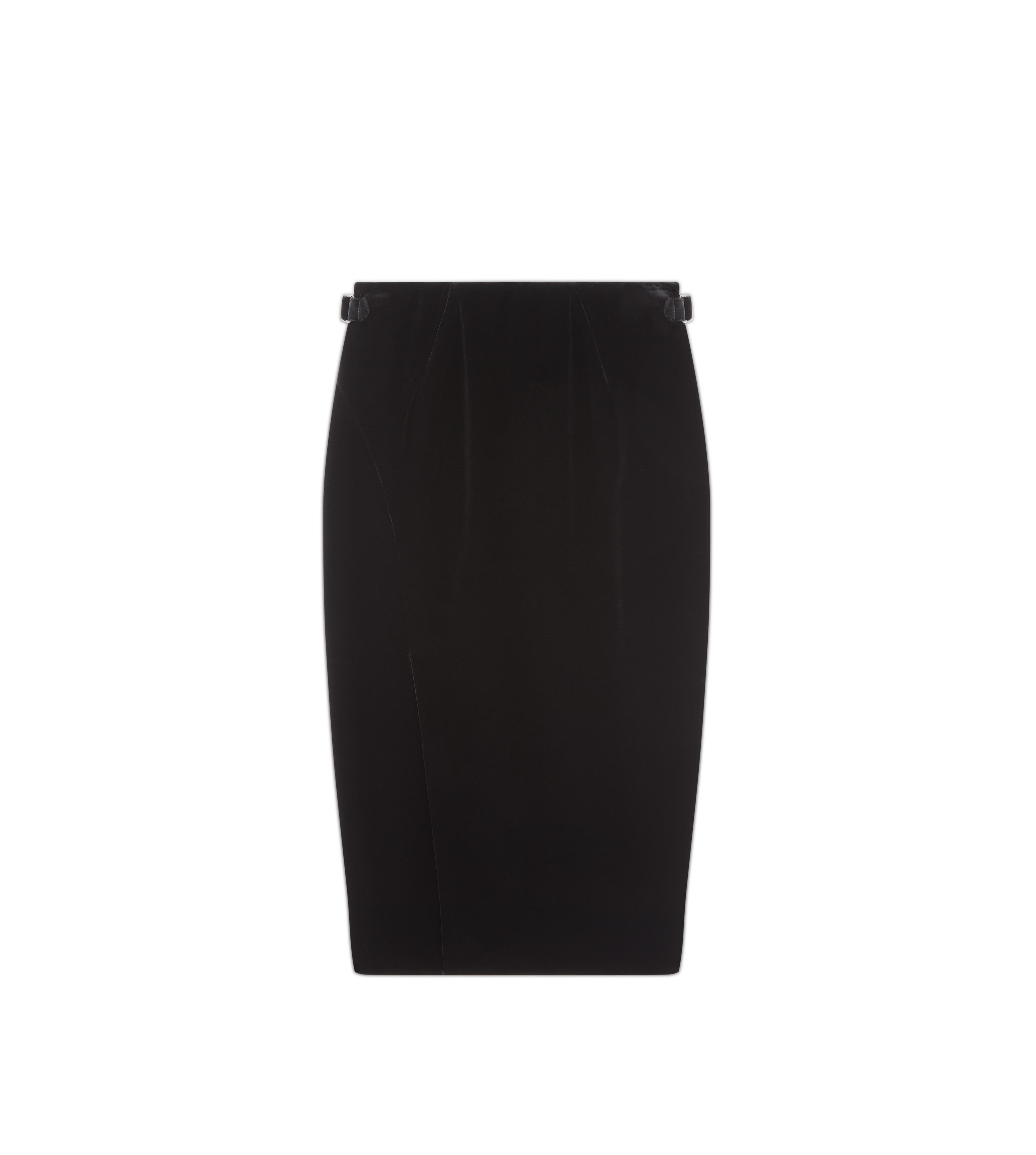 SLIT FRONT VELVET PENCIL SKIRT A thumbnail