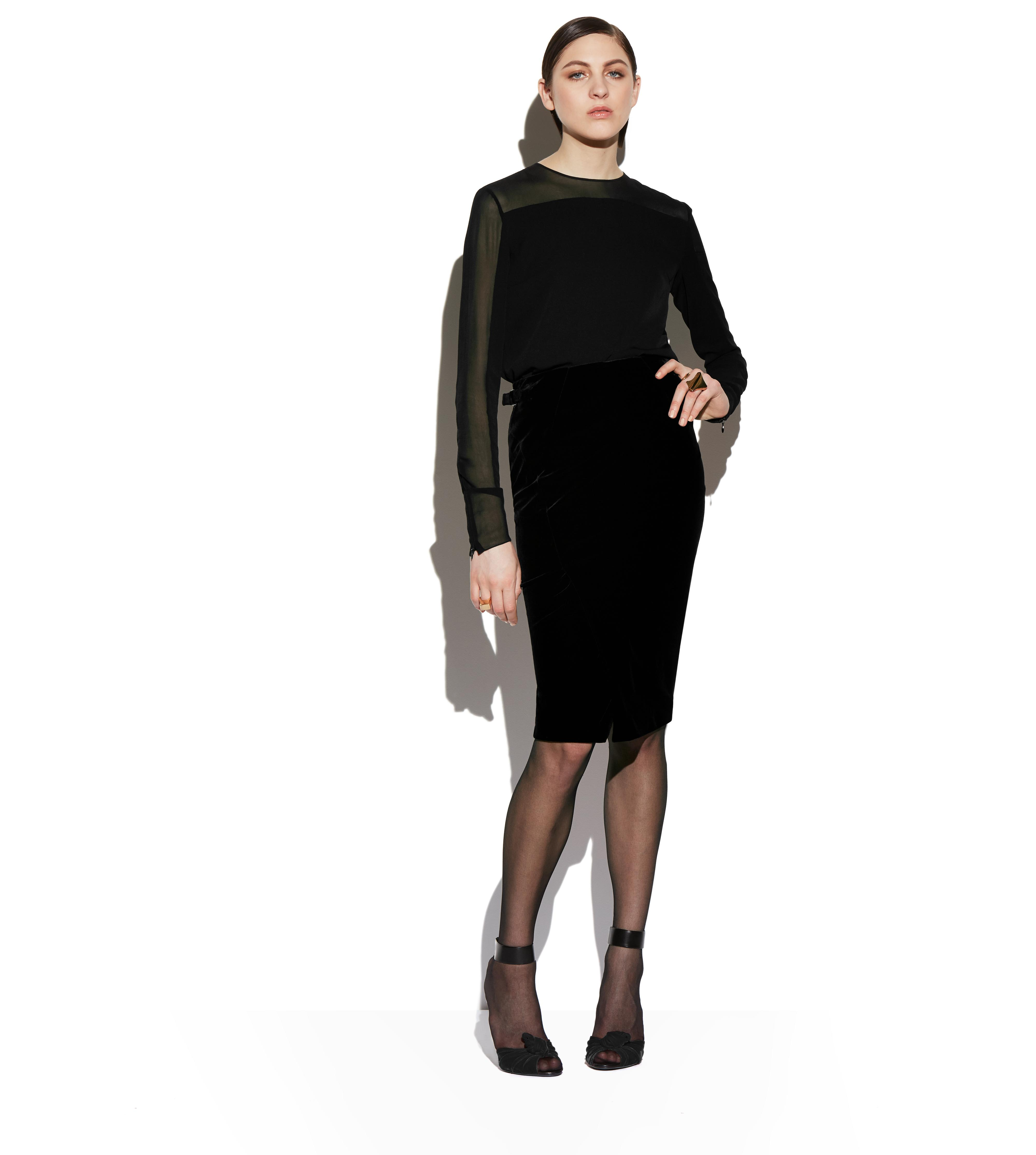 SLIT FRONT VELVET PENCIL SKIRT B thumbnail