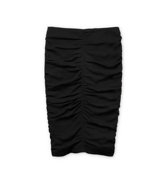 RUCHED CADY ZIP-BACK SKIRT A fullsize